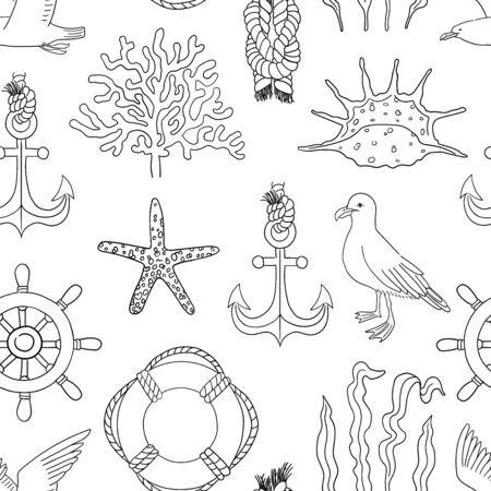 Sea hand draw sketch vector seamless pattern.