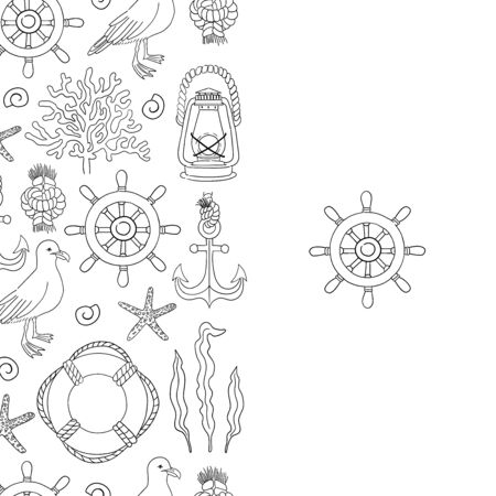 Sea seamless border hand draw sketch vector. Vectores