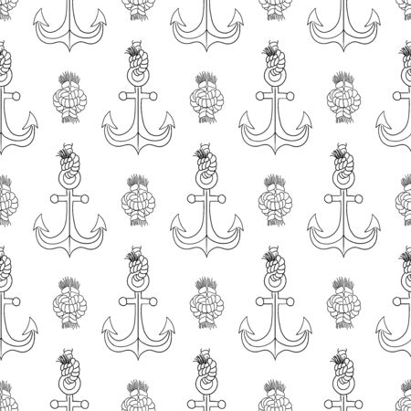 Anchor and knot  vector seamless pattern. 일러스트