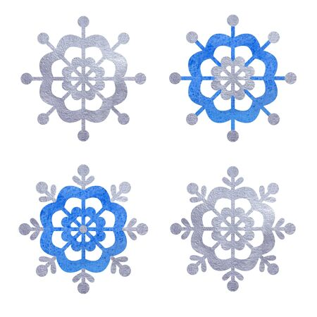 Blue and silver snowfloke watercolor hand painted set. 스톡 콘텐츠