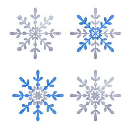 Blue and silver snowflake with white background.