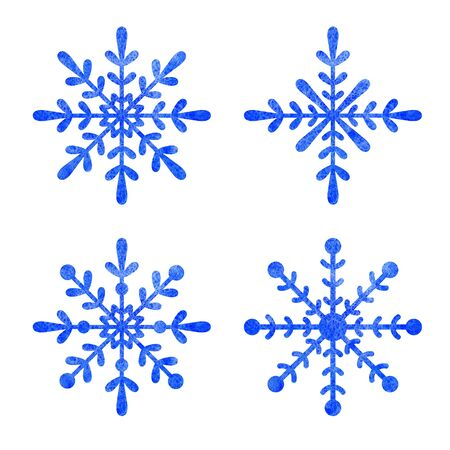 Blue snowflake  with white background.