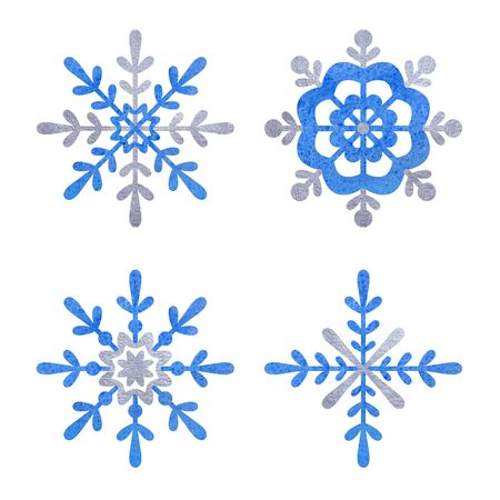 Blue and silver snowflake  with white background. 스톡 콘텐츠