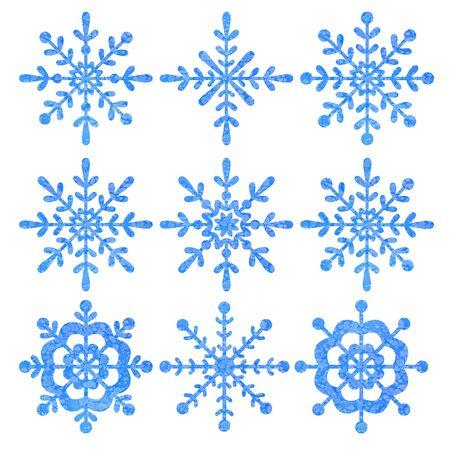 Blaue und silberne Schneeflocke mit weißem Hintergrund.