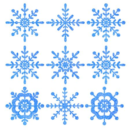 Niebieski i srebrny płatek śniegu z białym tłem.