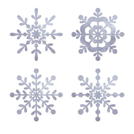 silver snowfloke watercolor hand painted clipart.