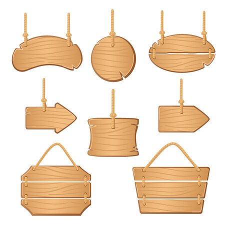 Wooden boards with ropes hanging. 일러스트