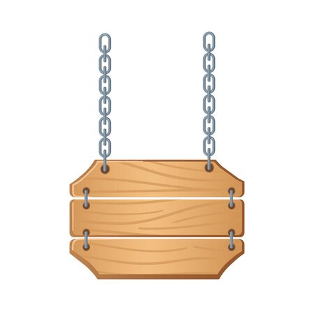 Western signboards vector. Wooden boards with chains for banners or messages hanging.