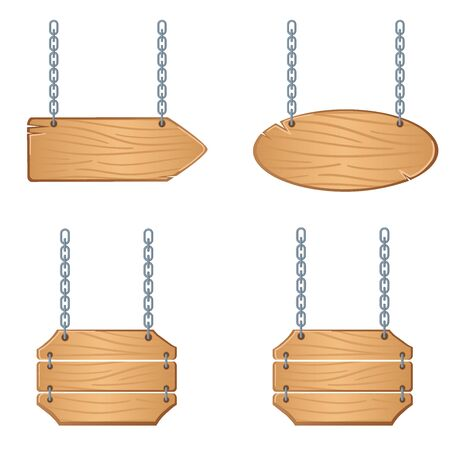 Western signboards vector set. Wooden boards with chains for banners or messages hanging.