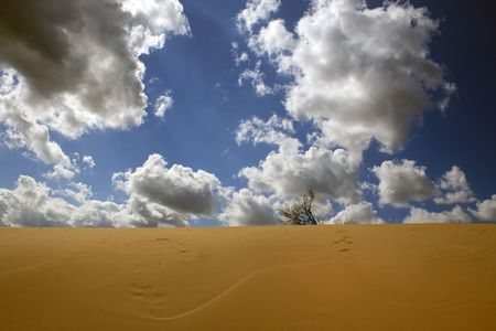 Yellow sand, the blue sky, white clouds - here it, freedom embodiment! Stock Photo