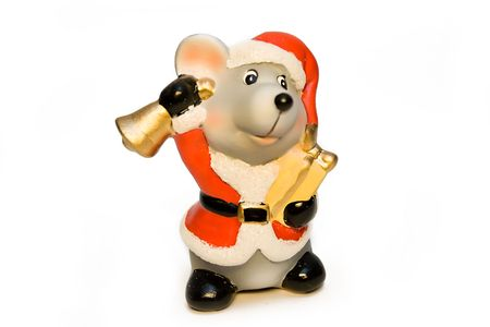Ceramic mouse-gnome in a red cap with a hand bell