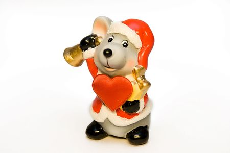 Ceramic mouse-gnome in a red cap with a hand bell and big red heart