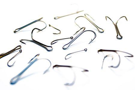 Set of fishing hooks on a white background Stock Photo