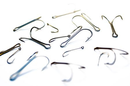 Set of fishing hooks on a white background Stock Photo