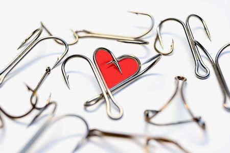 Abstract heart from hooks on a white background Stock Photo