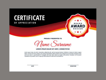 Abstract Smooth Certificate with Red Black Wavy Element Design, Professional, Modern, Elegant Certificate with Red Flow Mesh Gradient Background Template Vector