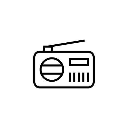 Simple Radio Icon Illustration Design, Radio Symbol With Outlined Style Template Vector