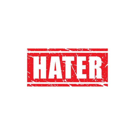 Abstract Red Grungy Hater Rubber Stamp Sign Illustration Vector, Hater Text Seal, Mark, Label Design Template Vektoros illusztráció