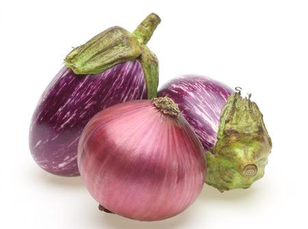 stripe pattern: Eggplant of the stripe pattern and purple onion Stock Photo