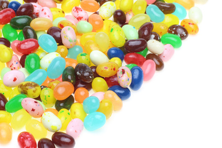 Jelly beans in a white background photo