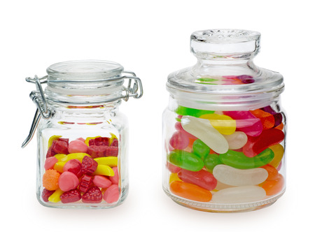 Candies and jelly beans in a jar photo