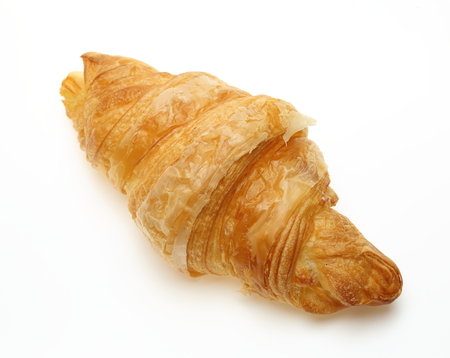 high angles: Croissant in a white background Stock Photo