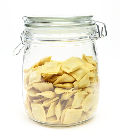 ravioli: Ravioli in a jar Stock Photo