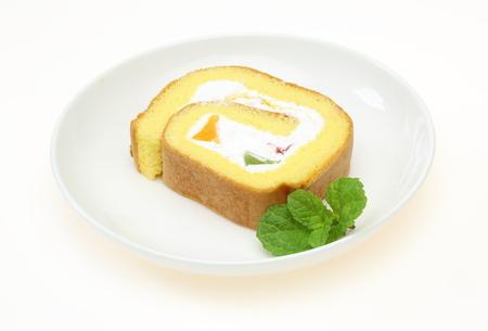 swiss roll: Swiss roll on a plate
