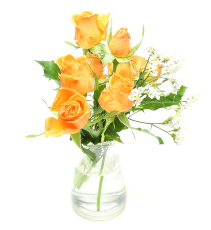 babys: Bouquet of roses and babys breath in a glass bottle