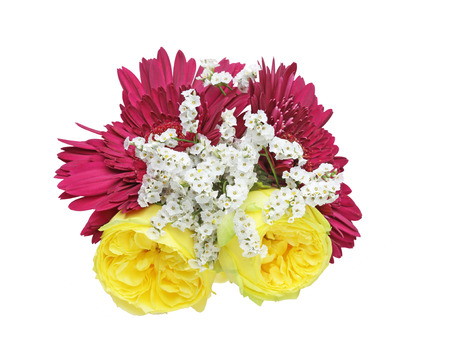 babys: Bouquet of roses, babys breath and gerbera Stock Photo