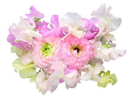 Bouquet of sweetpea and Persian buttercup Stockfoto