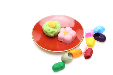 traditinal: Japanese sweets on a plate with cocoon