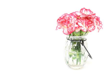 ramo de flores: Bouquet of carnation in a glass bottle