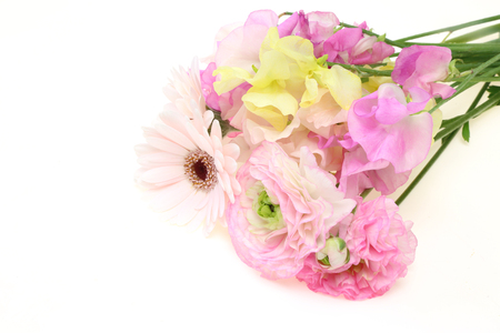 sweet pea flower: Bouquet of sweetpea, persian buttercup and transvaa Stock Photo