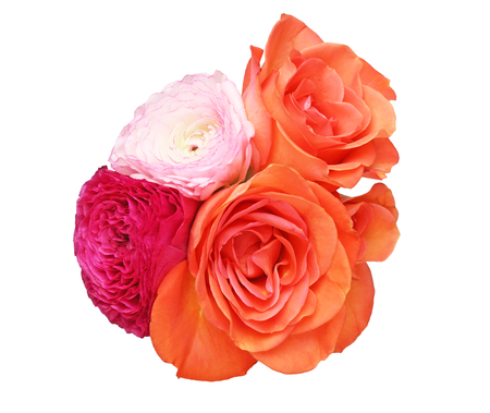 persian buttercup: Bouquet of Persian buttercup and rose Stock Photo
