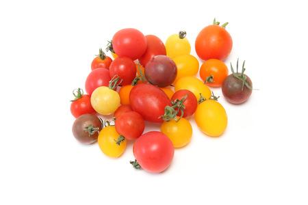 白い背景上にミニトマト 写真素材