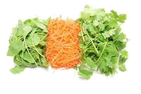 cilantro: zanahoria cilantro, Rucola y desmenuzada
