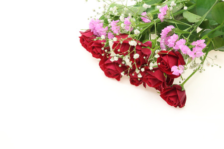babys: Bouquet of roses, babys breath and sea lavender