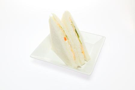 皿にサンドイッチ 写真素材