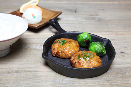 Japanese hamburger steak made from tofu and minced meat Stock Photo