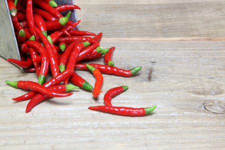 Chili pepper in a wooden background Stock Photo