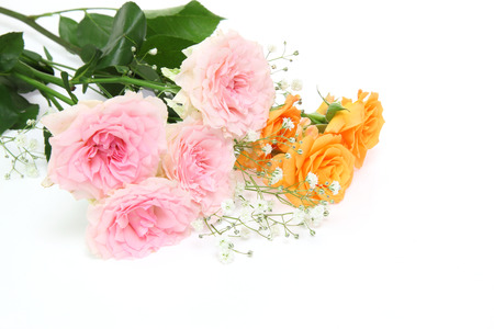 Bouquet of roses and babys breath