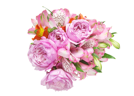 alstroemeria and rose in a white background