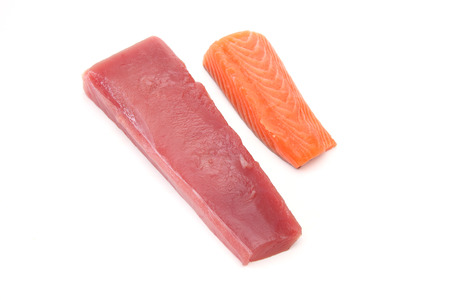 fillet of raw salmon and tuna in a white background 免版税图像