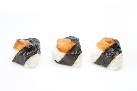 shrimp tempura rice balls in a white background