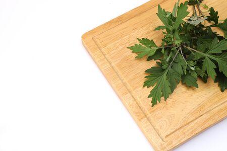 Japanese mugwort in a white background