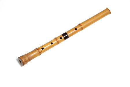 Bamboo Flute called Shakuhachi in a white background