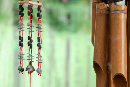 Asian wind chimes in a green background
