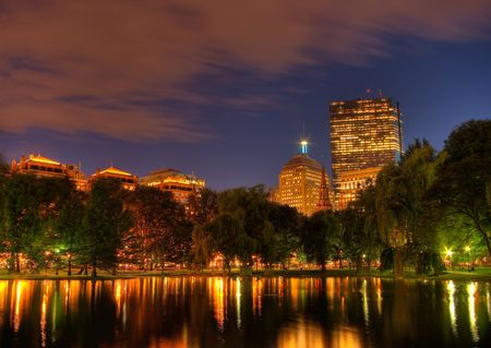 View from the Boston Garden Towards Copley Square at Sunset (HDR) photo