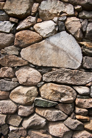 rubble: Granite boulders staked into a rock wall